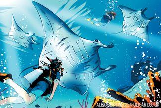 manta ray illustration
