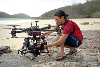 jeff orlowski filming chasing coral custom drone