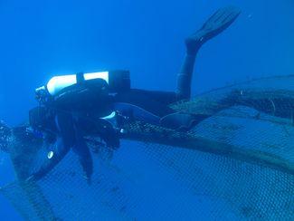 underwater ghost net removal