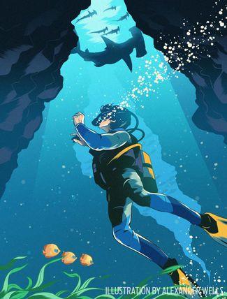scuba diving shark panic illustration