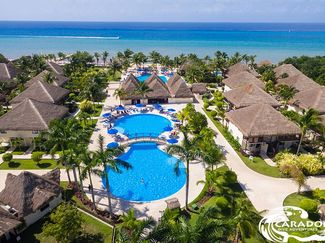 Aerial view of pool deck at Compass Point resort