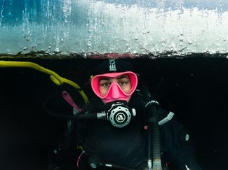 scuba diving under the ice
