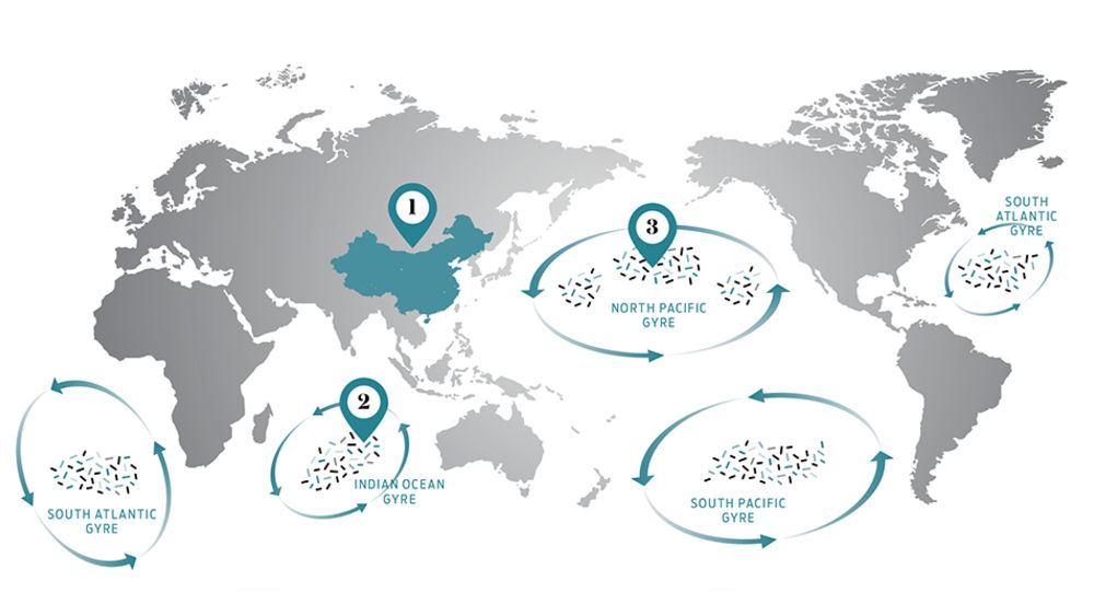 Map of world garbage patch great pacific