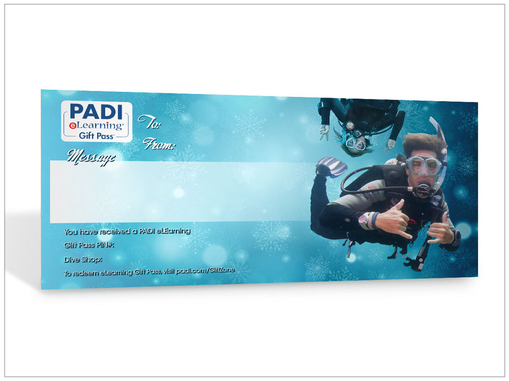 PADI scuba diving eLearning Gift Pass