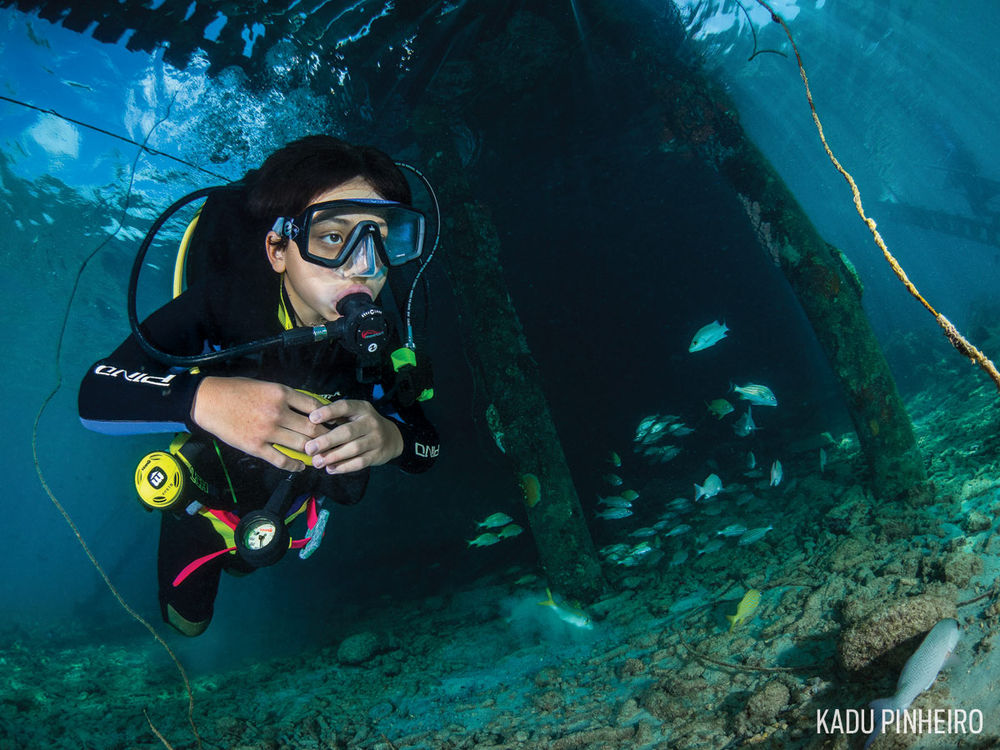 child scuba diving family trip vacation
