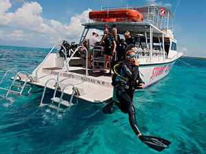 Scuba diver strides into the ocean wearing the latest gear.