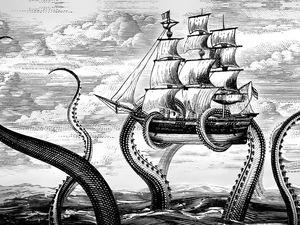 kraken illustration ocean myths